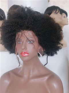 8A Brazilian Tight Afro Kinky Curly Human Hair Lace Front Wigs For Black Women With Pre-plucked Baby Hair