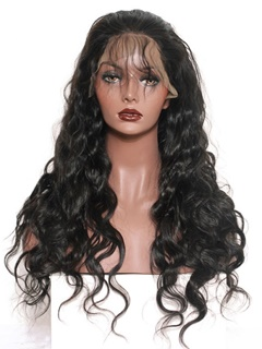 Lace Front Wig Peruvian Virgin Hair Body Wave Full Lace Front Wigs With Baby Hair 24Inch Density 200%