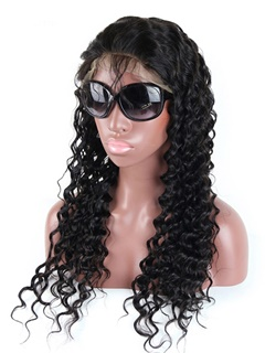 Peruvian Virgin Hair Deep Wave Full Lace Wig 100% Unprocessed Virgin Human Hair Wigs For Black Women