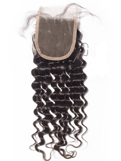Deep Wave Closure Peruvian Virgin Hair Lace Closure Bleached Knots 4X4 Swiss Lace Material