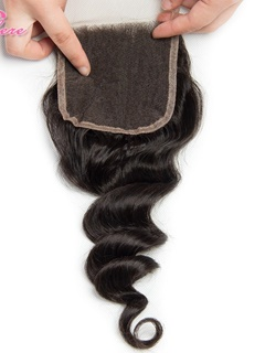 Kason 8-20 Inch Peruvian Loose Wave Closure 100% Human Hair Lace Top Closure With Baby Hair Natural Black Color