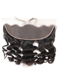 Ear To Ear Lace Frontal Closure 13X4 Swiss Lace Peruvian Virgin Hair Loose Wave Human Hair 10-26Inch