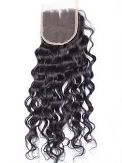 Peruvian Water Wave Lace Closure Bleached Knots 4×4 Swiss Lace Unprocessed Virgin Human Hair Peruvian Closure