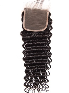 Indian Deep Wave Closure 100% Human Hair Closure With Baby Hair Kason Hair Products Lace Closure Bleached Knots