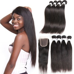 "Straight, 1 Piece Lace Top Closure And Hair Bundle 100% Brazilian Virgin Hair Weft, 8""-30"" Free shipping"