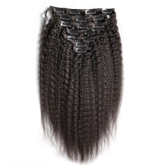 Yaki Straight Clip In Human Hair Extensions 100% Coarse Yaki Human Hair Clip-in Full Head Brazilian Remy Hair 120G
