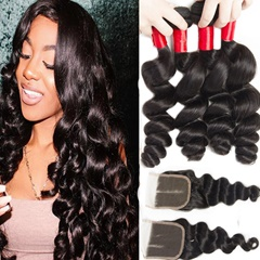 Noble Loose Wave Indian Hair 4Bundles With Closure 4X4 Bleached Knots Lace Closure With Indian Virgin Human Hair