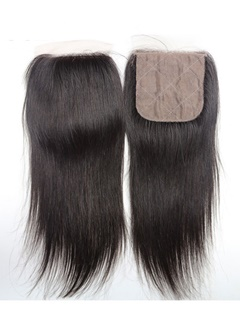 Silk Base Closure Brazilian Straight Remy Hair 4X4 Siwss Lace With Bleached Knots Free Middle 3 Part Style