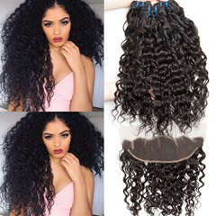 Peruvian Water Wave 3Bundles With Frontal Top Grade Ear To Ear Lace Frontal Closure With Bundles Human Hair Free Shipping