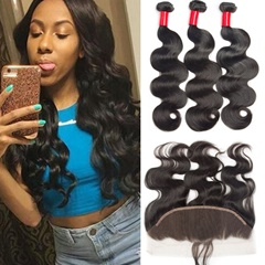 Ear To Ear Lace Frontal Closure With Bundles Body Wave Raw Indian Virgin Hair Weave Bundles With Lace Frontal Indian Body Wave