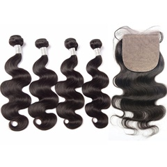Silk Base Closure With Bundles Brazilian Virgin Hair Body Wave 5Pc Lot 1Pc Middle/Free/3 Part Silk Closure With Bundles 8A