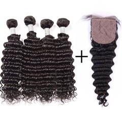 8A Brazilian Virgin Hair With Silk Base Closure 4 Bundles Deep Wave With Silk Closure Soft And Cheap Brazillian Deep Wave Hair With Closure