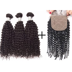 3Pcs Kason Hair Mogolian Virgin Hair Kinky Curly Bundles With 1 Piece Silk Base Closure 4Pc/Lot Human Virgin Hair Free shipping