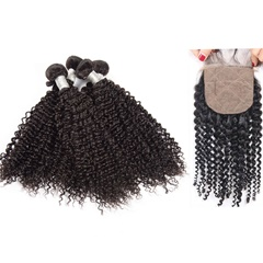 4Pcs Kason Hair Mogolian Virgin Hair Kinky Curly Bundles With 1 Piece Silk Base Closure 5Pc/Lot Human Virgin Hair Free shipping