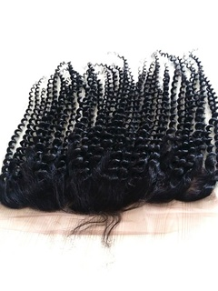 Kinky Curly Brazilian Virgin Hair Closure Natural Color Pre Plucked 13x6 Swiss Lace Frontal Baby Hair Bleached Knots