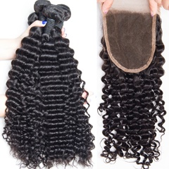 Indian Deep Wave Human Hair Bundles With Closure Raw Indian Human Hair With Closure Deep Wave With Closure Free Shipping