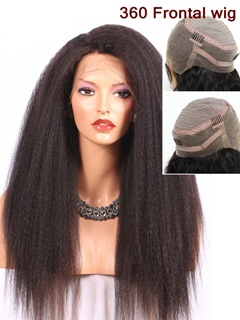 Peruvian 360 Lace Front Human Hair Wigs Classical Kinky Straight Hair Human Hair Lace Front Wigs Black Women 360 Lace Frontal Wig
