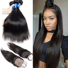 Peruvian Silk Base Closure With Bundles Straight Human Hair 3Bundles With Silk Top Closure Top Grade Peruvian Virgin Hair Free Shipping