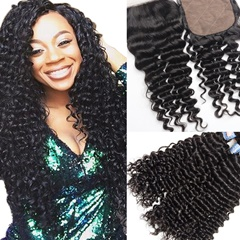Peruvian Virgin Hair With Closure Deep Wave Curly Silk Base Closure With 3 Bundles Peruvian Human Hair With Silk Top Closure Free Shipping