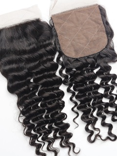 Middle Part Silk Base Closure Deep Wave Peruvian Hair Best Quality Peruvian Virgin Hair Deep Curly Lace Closure With Baby Hair
