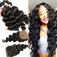 Silk Top Closure With Peruvian Loose Wave Human Hair Bundles With Closure Peruvian Virign Hair Loose Wave Weave Bundles With Silk Base Closure