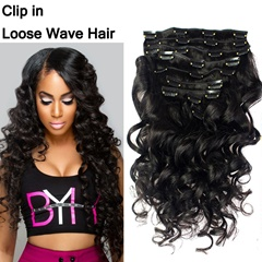 Loose Wave Clip In Human Hair Extensions Peruvian Virgin Hair Clip In Hair Extensions Customize 120G-140G-160G-180G-200G-Set 100% Unprocessed Virgin Hair