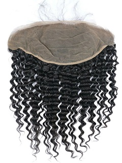 Lace Frontal Peruvian Deep Wave Human Hair 13x6 Size Natural Hairline With Baby Hair Peruvian Curly Lace Frontal Closure Bleached Knots