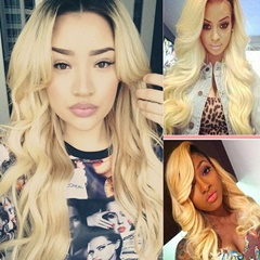 Peruvian Blonde Hair 1B 613 Peruvian Human Hair Weave Virgin 3Bundles Body Wave Ombre Human Hair Extension Free Shipping