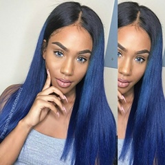 Ombre Human Hair 3Bundles With Lace Closure Peruvian Virgin Hair With 100% Human Hair Closure Silk And Soft Straight Hair Bundles Closures Deals