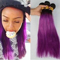 Purple Color Human Hair 3Bundles Peruvian Virgin Hair 1B Purple Ombre Human Hair Weave Bundles Best Quality Hair Extensions Free Shipping