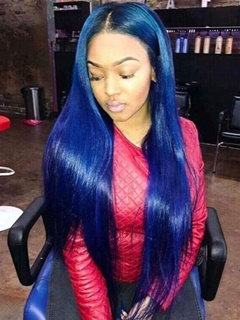 Ombre Human Hair Wig Virgin Brazilian Human Hair Roots Black Ombre Blue Color Straight Hair Full Lace Wig
