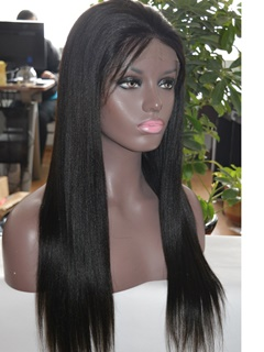 Full Lace Wig Natural Black Color Human Virgin Brazilian Hair Yaki Straight Human Hair Wig No Tangle No Shedding