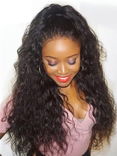 Full Lace Human Hair Wigs Wavy Lace Wig Unprocessed Virgin Brazilian Hair Water Wave For Black Women In Stock