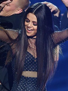 Selena Gomez Hair Styles With Customized Brazilian Virgin Hair Straight Human Hair Silk Lace Front Wig Middle Part 5*5