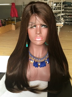 Brown #4 Color Human Hair Lace Front Wig Grade 8A Brazilian Virgin Straight Human Hair Wig Side Parting With Baby Hair