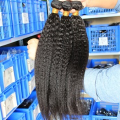 Beauty Peruvian Virgin Hair Kinky Straight 3 Bundles 100% Raw Unprocessed Human Virgin Italian Yak Kinky Hair In Stock