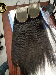 Peruvian Virgin Hair Kinky Straight Lace Closure Swiss Lace Human Hair Top Closure 4*4 Bleached Knots With Baby Hair