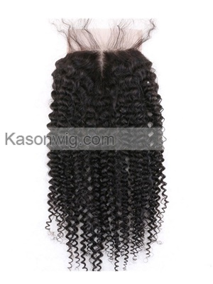 Brazilian Kinky Curly Hair Lace Closure 4*4 Brazilian Hair 100% Remy Human Curly Hair Closure Free/Middle/3 Part