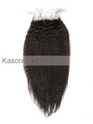 Brazilian Kinky Straight Hair Lace Closure Coarse Yaki Lace Closure Italian Yaki Lace Closure Free/Middle/3 Part Free Shipping