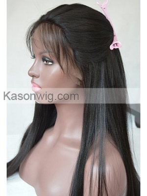 Peruvian Human Hair 130% Density Yaki Straight Lace Front Wigs for Black Women with Baby Hair Natural Hairline