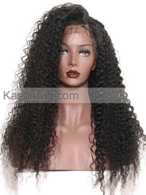 Peruvian Virgin Deep Curly Full Lace Wig Unprocessed Human Hair Full Lace Wig With Baby Hair Natural Hairline