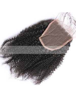 Peruvian Afro Kinky Curly Lace Closure 4X4 Free Middle Three Part Lace Closure Bleached Knots