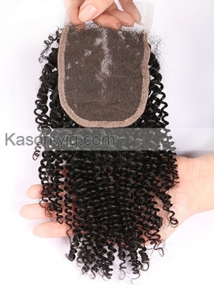 Kason Peruvian Kinky Curly Lace Closure 4x4 Medium Brown Swiss Lace Bleached Knots With Baby Hair Shipping Free