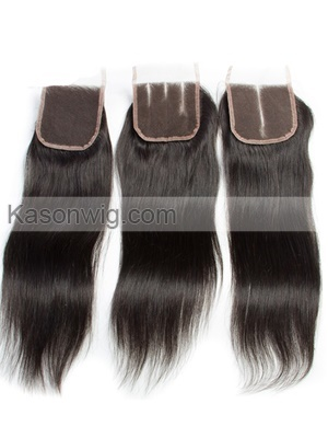 4x4 Lace Closure with Baby Hair 100% Human Hair Closure Bleached Knots 8-20inch Peruvian Straight Remy Hair Piece