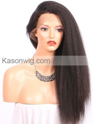 Lace Front Human Hair Wigs 200% Density Kinky Straight with Baby Hair Peruvian Virgin Human Hair Free Shipping 24Inch