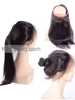 360 Lace Frontal Pre Plucked Bleached Knots 360 Frontal 8A Virgin Brazilian Straight Lace Band Frontal 360 Lace Virgin Hair