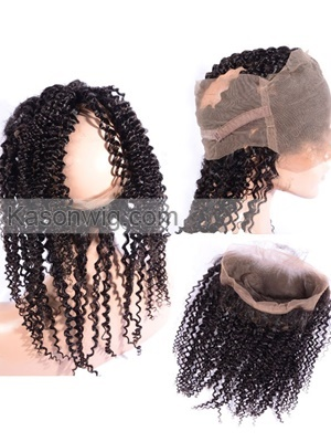 Pre Plucked Natural Hair Line Kinky Curly 360 Lace Frontal With Baby Hair Bleached Knots Brazilian Virgin Hair 360 Lace Frontal