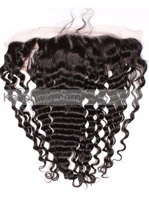 Lace Frontal Closure Peruvian Deep Wave Virgin Hair 13x4 Swiss Lace 100% Human Hair Lace Frontal Bleached Knots