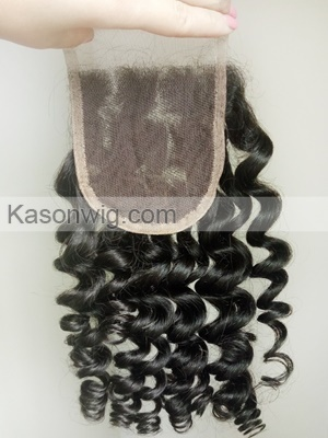 New Arrival Loose Curly Peruvian Human Hair Closure With Baby Hair Peruvian Virgin Hair Curly Lace Closure Bleached Knots