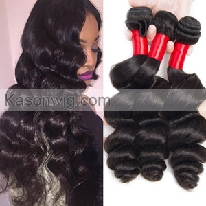 Indian Virgin Hair 3Pcs/lot Unprocessed Raw Indian Loose Wave Hair Natural Color Remy Human Hair Weave